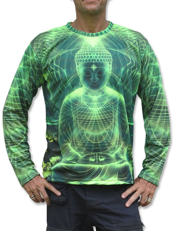 UV Sublime L/S T : Lime Buddha - Men Long Sleeve T's - Space Tribe