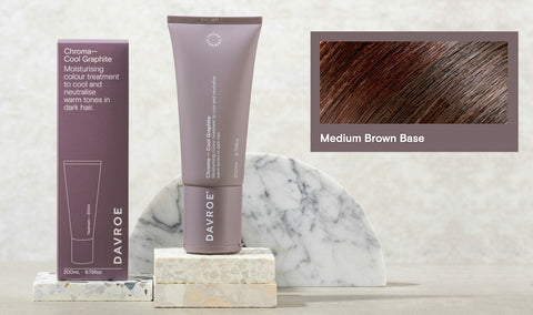 Davroe Chroma Cool Graphite Moisturising colour treatment to cool and neutralise warm tones in dark hair.  Containing Willow Bark extract, this Cool Graphite Chroma will help neutralise warm tones on brown hair. Improves hair strength, while adding moisture, leaving hair nourished and revitalised.