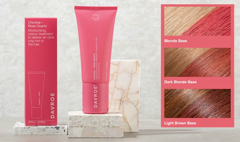 Davroe Chroma Rose Quartz Moisturising colour treatment to deliver an ultra rosy tint to the hair.  Infused with Rose extract, this Rose Quartz Chroma will create a pink-red hue on medium to light blonde hair, and a rosy tone on light to dark brown hair. Improves hair strength, while adding moisture, leaving hair nourished and revitalised.