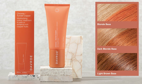 Davroe Chroma Sunset Copper Moisturising colour treatment to add or enhance rich copper hues.  Containing antioxidant rich Calendula extract, this Sunset Copper Chroma will create a combination of pink and orange tones on light to dark blonde hair, or add more vibrancy to copper/red hair. Improves hair strength, while adding moisture, leaving hair nourished and revitalised.