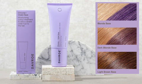 Davroe Chroma Violet Haze Moisturising colour treatment to add a vibrant violet hue to the hair.  Infused with violet extract, this Violet Haze Chroma will add a deep violet hue to light to dark brown hair, and a vibrant violet hue for light to dark blonde hair. Improves hair strength, while adding moisture, leaving hair nourished and revitalised.