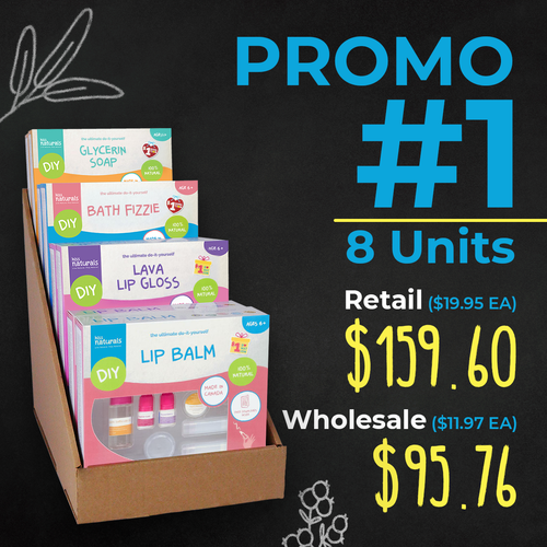Promo #1   Kiss Naturals  - 8 Unit Display that includes : 2 Soap, 2 Lip balm, 2 Fizzie, 2 Lava gloss (661895123498)