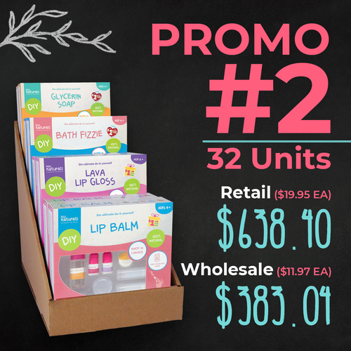 Promo #2   /   6 Lip Balm, 6 Fizzie, 6 Lava, 6 Soap and 8 unit display (661895123498)