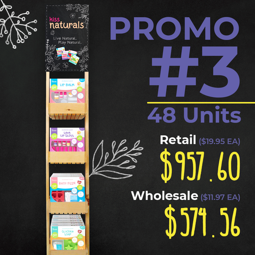 Promo # 3 - 12 Lip Balm, 12 Fizzie, 12 Lava, 12 Soap making kits and  Standup Wooden  Display (661895123511)