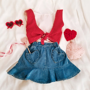 BE MINE DENIM POCKET HEART SKIRT