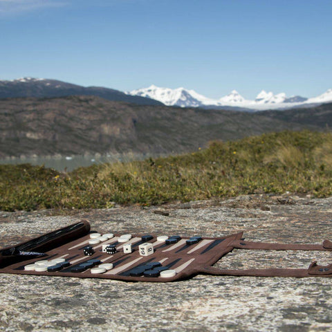 Sondergut Backgammon Game in Front of Mountains