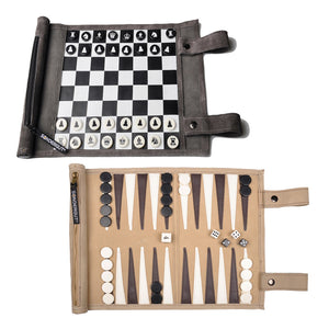 Sondergut Roll-Up Backgammon & Chess/Checkers Games Combo Pack