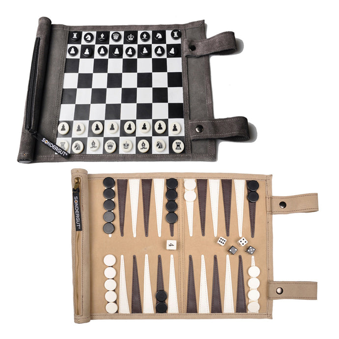Sondergut Roll-Up Backgammon & Chess/Checkers Games Combo Pack | Free Shipping