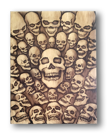 40 Skulls (wood print | black on a wood background)
