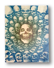 40 Skulls (wood print | blue and green background)