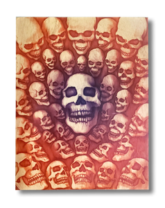 40 Skulls (wood print | purple and orange background)