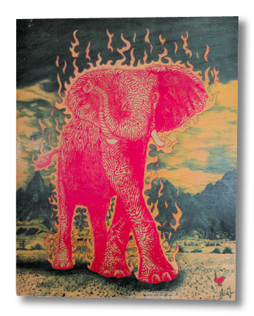 The Luck Elephant (wood print | orange on a blue and mustard background)