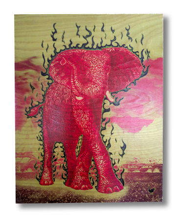 The Luck Elephant (wood print | red orange on a purple and mint background)