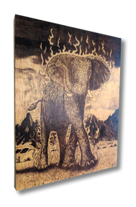 The Luck Elephant (wood print | black on a wood background)