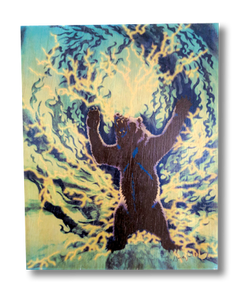 The Spirit Bear (blue and purple wood print)