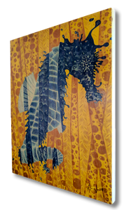 Fragmented Seahorse (wood print | blue on a yellow background)