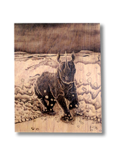 Rampage (wood print | black on wood background)
