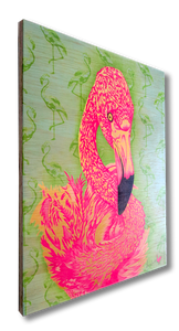 Flamingo! (wood print | pink on green background)