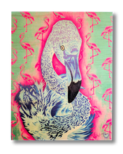Flamingo! (wood print | blue on pink and green background)