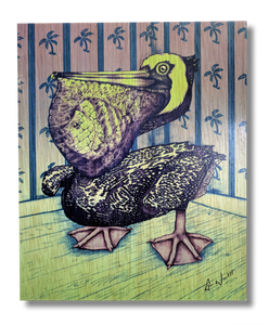 Pelican (wood print | purple and green background)