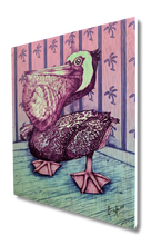 Pelican (wood print | blue and pink background)