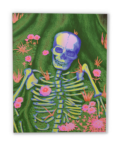 R.I.P. (wood print | blue on green and pink background)