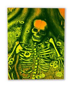 R.I.P. (wood print | green on yellow orange background)