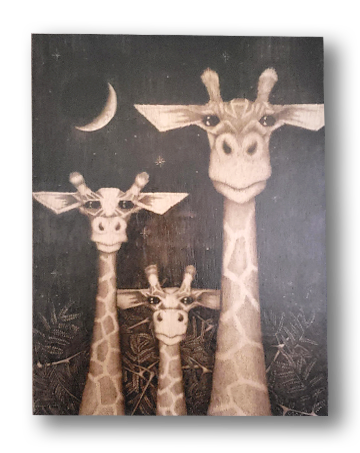 Giraffe (wood print | black on a wood background)