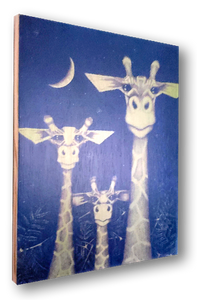 Giraffe (wood print | green on blue background)