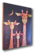 Giraffe (wood print | yellow on purple background)