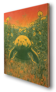 Manatee (wood print | green on an orange background)