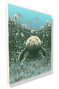 Manatee (wood print | green on a blue background)