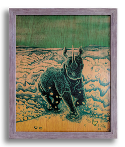 Rampage (wood print | green on mustard background)