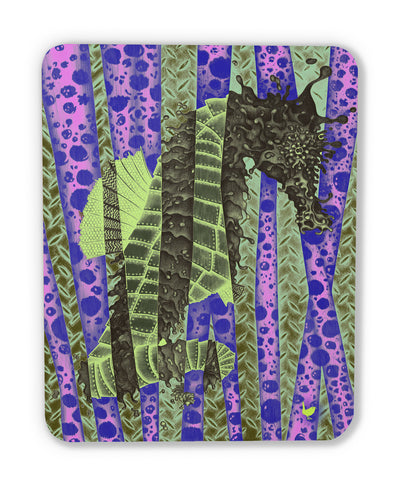 Fragmented Seahorse (wood print magnet)