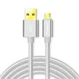 Flauntis 2M Nylon braided Fast Charging Micro USB Cable (Silver)