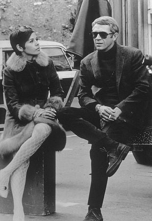 "Bullitt"" Steve McQueen and wife Neile behind the scenes. 1968 / Warner"