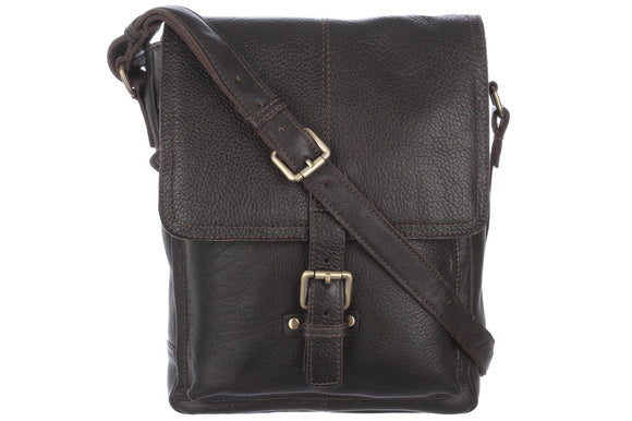 Ashwood Benjamin Leather Shoulder Bag Brown