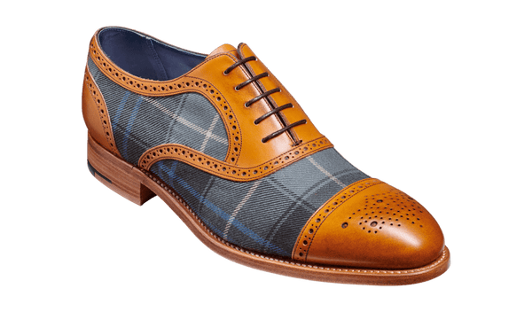 Barker Hursley-Cedar Calf/Check Fabric-British Shoe Company