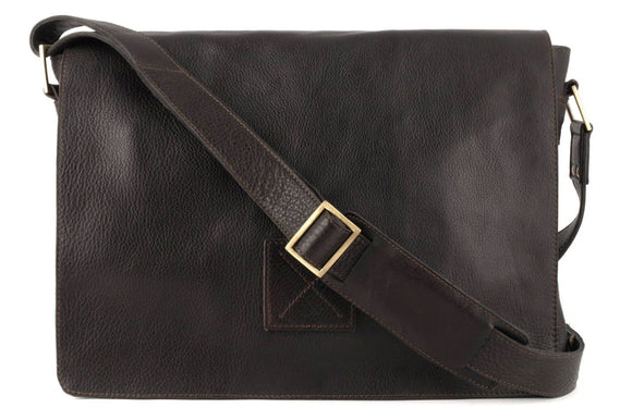 Ashwood Pedro Leather Shoulder Bag Brown