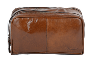 Ashwood 2012 Leather Wash Bag Chestnut