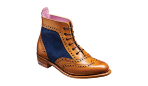 Barker Grace-Cedar Calf/Blue Suede-British Shoe Company