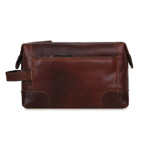 Ashwood 4557 Leather Wash Bag Brown