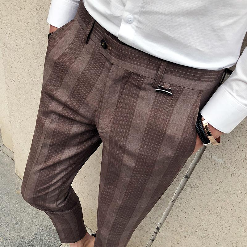 Plaid Check Men Dress Pant Slim Fit Blue Brown Pantalon Costume Homme Express Monde