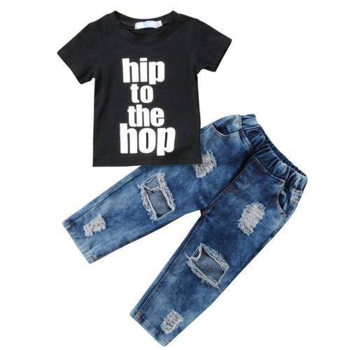 Newborn Toddler Kids Baby Boys Clothes Cool T Shirt Tee Tops+Denim Hole Pants Outfits Set - EM