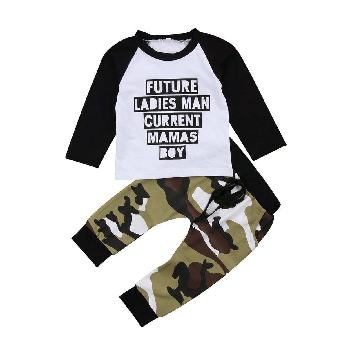 Toddler Baby Boy Kids Clothes Patchwork long sleeve Boy T-shirt Top + Camouflage Pants Leggings Outfits Set - EM