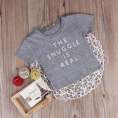 Newborn Kids Summer Clothes Baby Boy Girl Short Sleeve Letter Printed T Shirts Outfit Tops Tee - EM