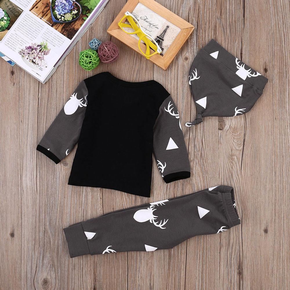 2017 New Autumn Cute Newborn Baby Girl Boys Clothes Deer Tops T-shirt Long Sleeve+Leggings Pants Casual Hat Cap 3pcs Outfits Set - EM