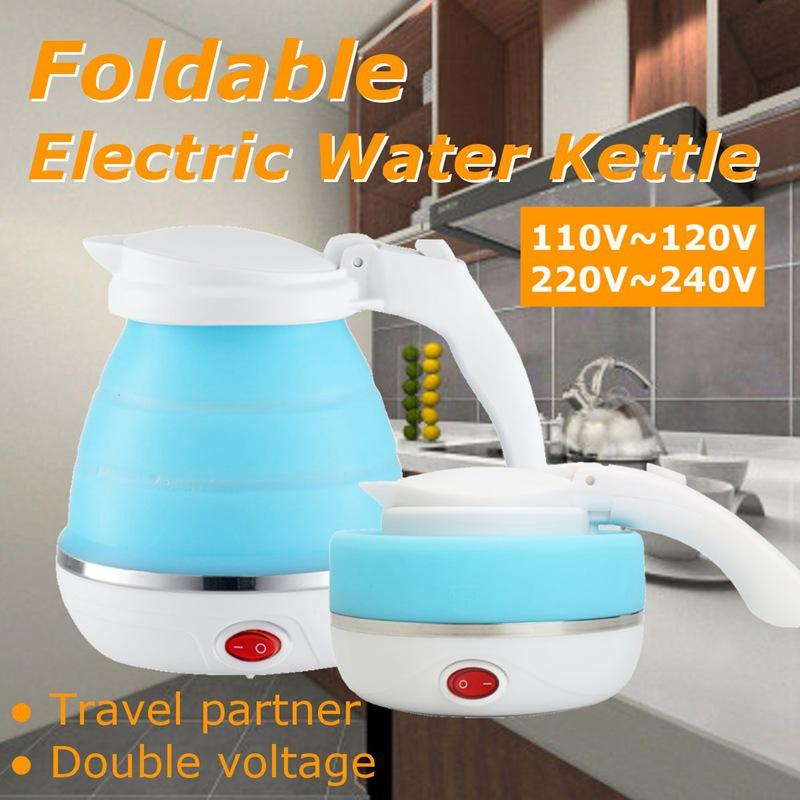 680W Portable Electric Kettle Silicone Mini Foldable Small Electric Kettles 110-240V EU Plug Travel Water Boiler Camping Kettle - EM