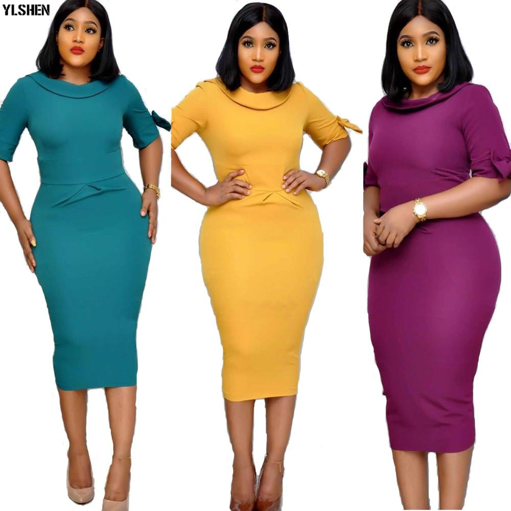 New Style African Dresses for Women Dashiki Cute African Clothes Doll Collar Back V-neck Split Skirt Long Bodycon Africa Dress - EM