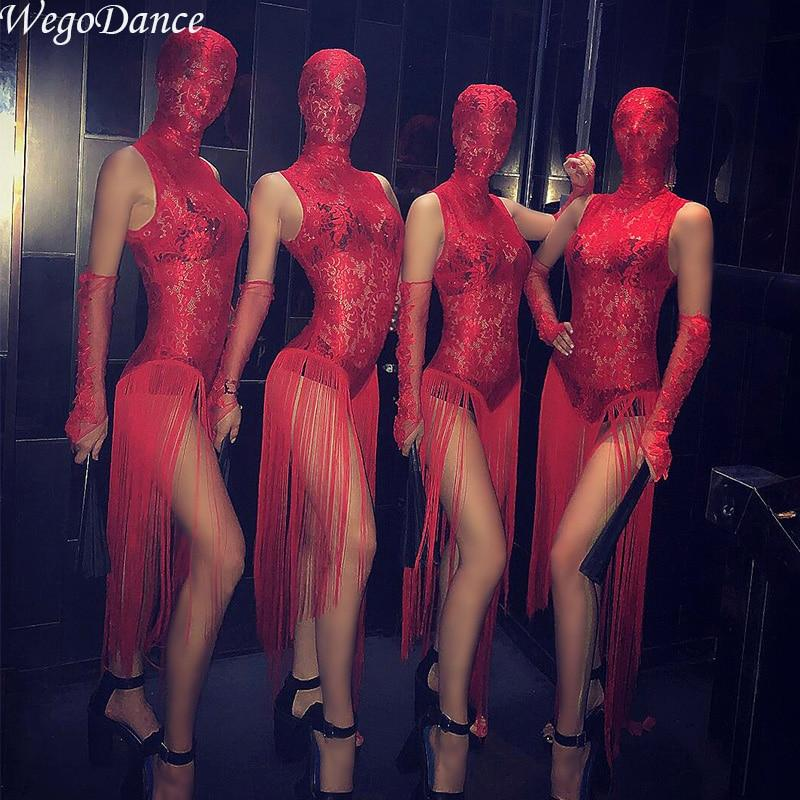 Sexy gogo lace tassel Dress Perspective Red Chinese Style Bar Nights ds Show New Nightclub costume with head cover for woman - EM